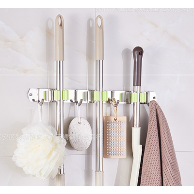 Broom Mop Holder Wall Mount, Stainless Steel Wall Mounted Storage Organizer Heavy Duty Tools Hanger with 3 Position 4 Hooks for Kitchen Bathroom Closet Garage Office Garden Laundry Room