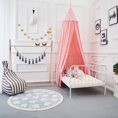 Mosquito Net Canopy, Cotton Canvas Dome Princess Bed Canopy Kids Play Tent Mosquito Net Children's Room Decorate for Baby Kids Indoor Outdoor Playing Reading (Pink)