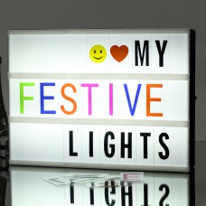 Cinema Light Box A4 Size DIY LED Light Box, include 271 Changeable Letters with Emoticons, Symbols and Numbers Apply for Home