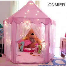 ONMIER Pink Princess Castle Kids Play Tent, Children Playhouse, Great Birthday Gifts For 1-10 Years Old Kids Toys, Indoor And Outdoor Use, ( Color Ball and LED Light Not Include )